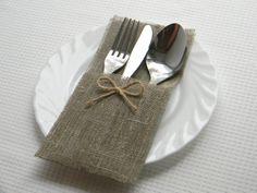 Burlap silverware holders for weddings Set of 100 -  Rustic table decor. $90.00, via Etsy.