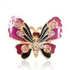 Enamel Purple Butterfly Ring