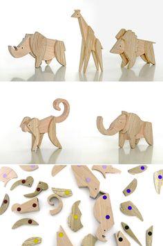 Interchangeable Magnetic Wooden Animal Kingdom