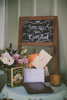 chalkboard guestbook sign, photo by Love Me Do Photography http://ruffledblog.com/skaneateles-lake-wedding #weddingideas #guestbooks