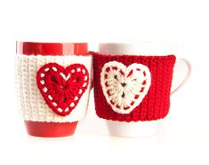 Set of 2 Hand Crocheted Mug Warmers. Cup by LittleKnittedThing,