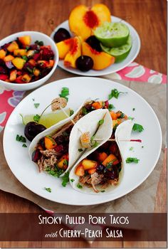 Crock Pot Recipe! Smoky Pulled Pork Tacos with Cherry-Peach Salsa. Sweet meets spice in this juicy, make-ahead taco and fresh salsa recipe. #dinner