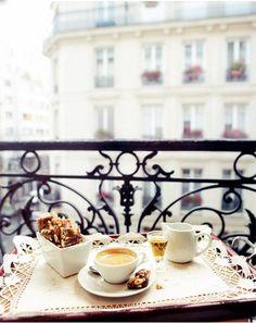 The perfect Saturday morning.  Coffee, balcony, Paris...