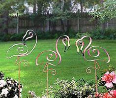 Flamingo garden stakes.