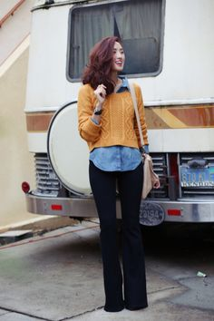 Mustard sweater, chambray shirt, and high waist flares.
