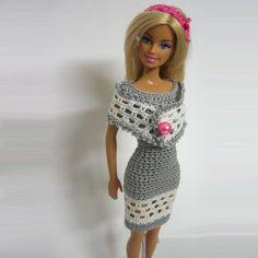 Handmade crochet Barbie doll clothes gray dress white pink headband : loststitch - ArtFire Dolls & Miniatures | Craft Juice