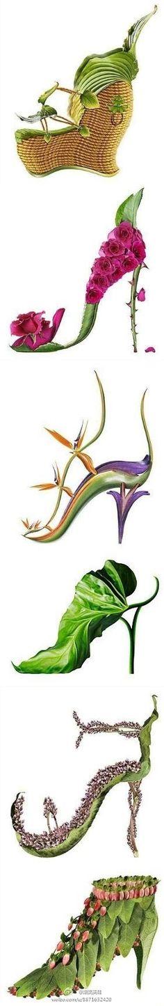 Whimsical Plant Based Shoe Art