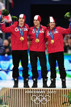 Canada's men's team won the team pursuit in long track speedskating - Dennis Morrison,  Mathieu Giroux, Lucas Makowsky - Vancouver 2010 Olympic Games
