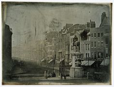A very early daguerreotype of London. Parliament Street from Trafalgar Square, 1839 (the first year of the daguerreotype), photographed by M. de Ste. Croix.