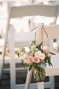 mason jar arrangements for the ends of aisles | Adam Barnes #wedding