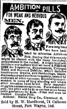 AMBITION PILLS!    The perkiness of a chap's moustache was a good indicator of virility, if patent medicine ads are to be believed