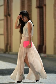 Neon clutch and maxi skirt!!!