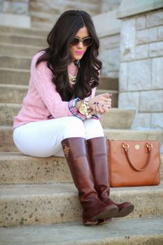 preppi pastel, knit sweaters, preppy boots, boots in spring, spring outfit with boots, preppy outfits winter, preppy riding boots, tory burch boots outfit, pastel winter fashion