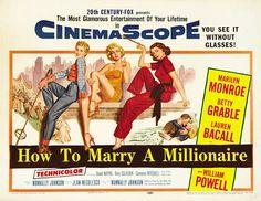 Marilyn Monroe, Betty Grable y Lauren Bacall | Cómo casarse con un millonario | Cartel cine Pin-Up