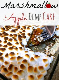 4 Ingredient Marshmallow Apple Pie Spice Dump Cake. THE BEST THING EVER! Takes the idea of a dump cake to a completely new level.