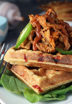 "Tender and juicy BBQ Pulled Pork layered on a crisp ""cornbread"" waffle! Shared via http://www.ruled.me/"