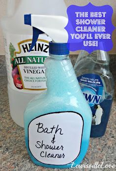 I tried this and the soap scum came right off. I'm completely impressed and no coughing from all the chemicals in cleaners. Never buying shower cleaner again.  1 cup each - warm white vinegar (microwave 2 min) + 1c Original Dawn.  Spray, leave for 15 min, rinse.