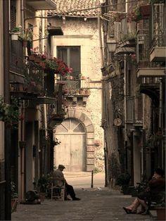 Old alley in Randazzo, Sicily, Italy