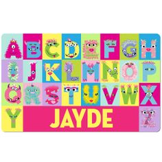 Psychobaby Monster Alphabet Placemat Girls