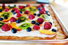 FRUIT PIZZA II	  1 roll sugar cookie dough 1 jar marshmallow creme 1 (8 oz.) pkg. cream cheese, softened Choose any 3 fruits: Strawberries, bananas, white grapes, pineapple, kiwi Pat dough into pizza pan and bake (as directed on cookie dough package). Mix marshmallow cream and softened cream cheese together. Spread on cookie and decorate with fruit.