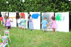 good idea for a backyard birthday party and the kids have their own artwork to take home