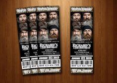 Duck Dynasty Birthday Party ticket invitation Birthday Invitation Camoflage Ticket $13
