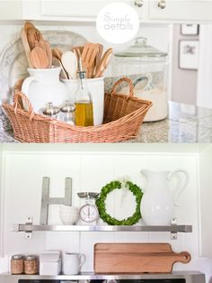 simple details.... Love the white utensil holders in the baskets.