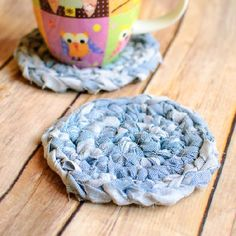 A super simple upcycle idea ... crochet coasters made from fabric yarn. Free tutorial and pattern. fabric yarn