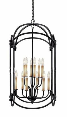 World Imports Lighting 61407-42 Hastings 12-Light Foyer Lantern, Rust by World Imports Lighting. $268.20. From the Manufacturer                The Hastings Collection offers sconces and foyer lights in sizes suitable for every ceiling height in a Rust finish. Requires twelve 60-Watt candelabra bulbs (bulbs not included). Shipped with 10-Feet of chain and 12-Feet of wire.                                    Product Description                WI6140742 Includes: -Includes 10' ch...