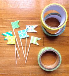 washi flags. make a set of 12 as a gift.