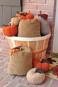 Upcycled Corduroy and Sweater Pumpkins.