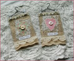 Conversation Heart ATC's - i love the hanger and tiny clothepins ... these would be cute on fabric as well instead of paper, various heart designs - TUTORIAL on this one  *********************************************   PaperWhimsy by Nancy - #mixed #media #hearts