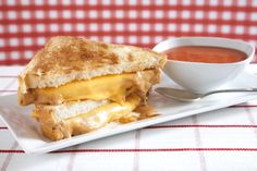 Nuts for Soup and Sandwich: Peanut butter grilled cheese with melty Smooth Operator peanut butter and yellow American cheese on white bread with a side of tomato soup.