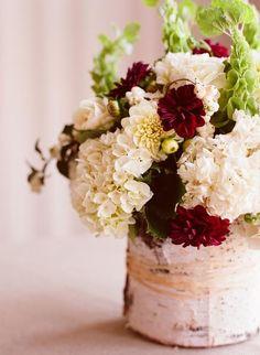 Love vases wrapped in paper birch bark, love it!!