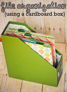 File organization using a cardboard box. One of these just for my different journals -shadowing hours/summaries