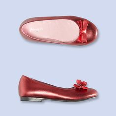 Iridescent red ballet flats for girls. Ours would die for these!