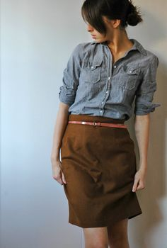 I like this idea of the soft denim shirt paired with a skirt and maybe a blazer to dress it up. Love the coral belt, too.