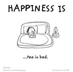happi, book, tea in bed