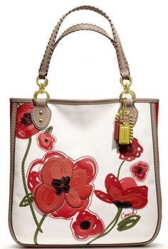 Coach Poppy Placed Flower Tote Cheap Coach handbags outlet online sale.