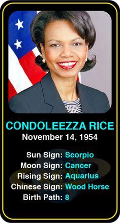Celeb #Scorpio birthdays: Condoleezza Rice's astrology info! Sign up here to see more: https://www.astroconnects.com/galleries/celeb-birthday-gallery/scorpio?start=120 #astrology #horoscope #zodiac #birthchart #natalchart #condoleezzarice