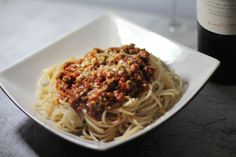 Spaghetti with Mrs. Jones' Bolognese sauce in Fifty Shades Freed page 347