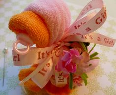 Baby Shower Corsage...Baby Quackers Washcloth Duck...in Pink...Mom To Be Corsage...Duck Corsage...Duck Baby Shower via Etsy