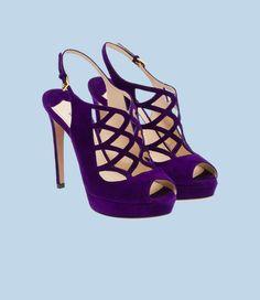 Prada - Purple Suede Open-Toe Heel