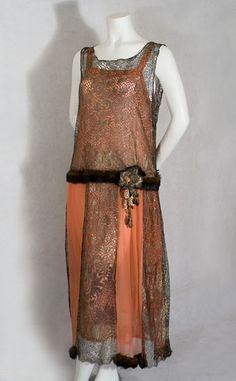 Mink trimmed metallic lace dress, circa 1923, via the Vintage Textile archives.