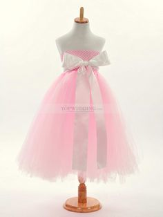Strapless Tulle A Line Flower Girl Dress with Satin Sash