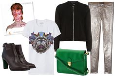 metallic pants, graphic tee, bright bag
