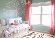 blue coral room wall colors, little girls, color schemes, color combos, new room, girl bedrooms, big girl rooms, little girl rooms, wall design