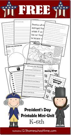 Free Presidents Day Printable Mini Unit Study | Free Homeschool Deals ©