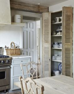 interior design, old shutters, pantry doors, english homes, interiors, rustic kitchens, cabinet, pantries, kitchen designs