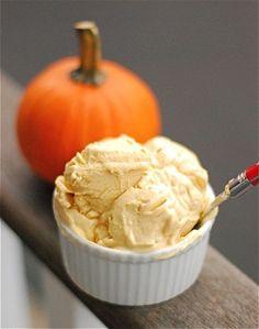4 Ingredient Pumpkin Frozen yogurt: 1 Cup Greek yogurt, 1 cup pumpkin puree, 1 T. Sugar, 1 t. pumpkin pie spice.